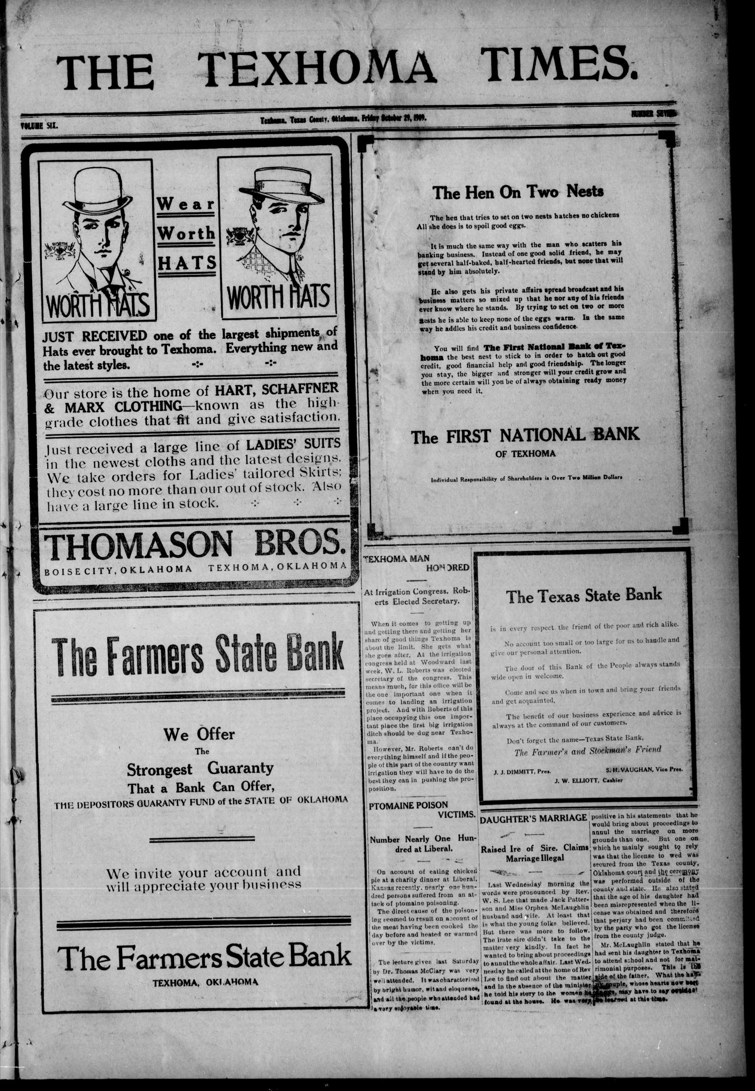 The Texhoma Times. (Texhoma, Okla.), Vol. 6, No. 7, Ed. 1 Friday, October 29, 1909                                                                                                      [Sequence #]: 1 of 8