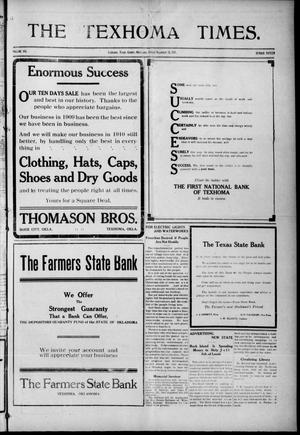 Primary view of object titled 'The Texhoma Times. (Texhoma, Okla.), Vol. 6, No. 15, Ed. 1 Friday, December 24, 1909'.