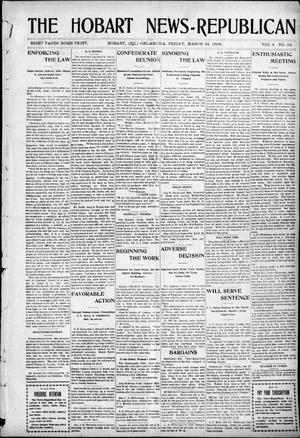 Primary view of object titled 'The Hobart News--Republican (Hobart, Okla.), Vol. 4, No. 33, Ed. 1 Friday, March 24, 1905'.