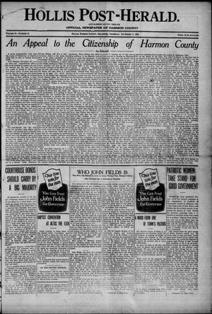 Primary view of object titled 'Hollis Post-Herald. And Harmon County Tribune (Hollis, Okla.), Vol. 19, No. 51, Ed. 1 Thursday, November 2, 1922'.