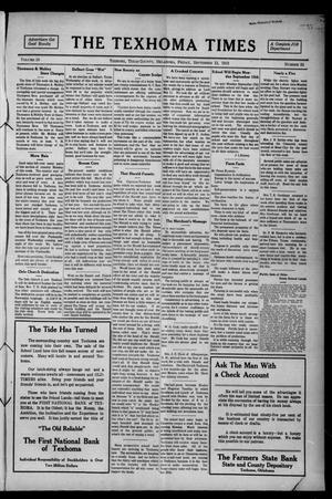 Primary view of object titled 'The Texhoma Times (Texhoma, Okla.), Vol. 10, No. 52, Ed. 1 Friday, September 12, 1913'.
