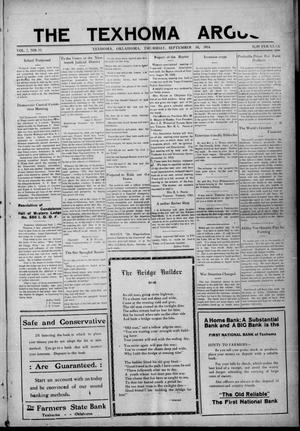 Primary view of object titled 'The Texhoma Argus (Texhoma, Okla.), Vol. 7, No. 33, Ed. 1 Thursday, September 10, 1914'.