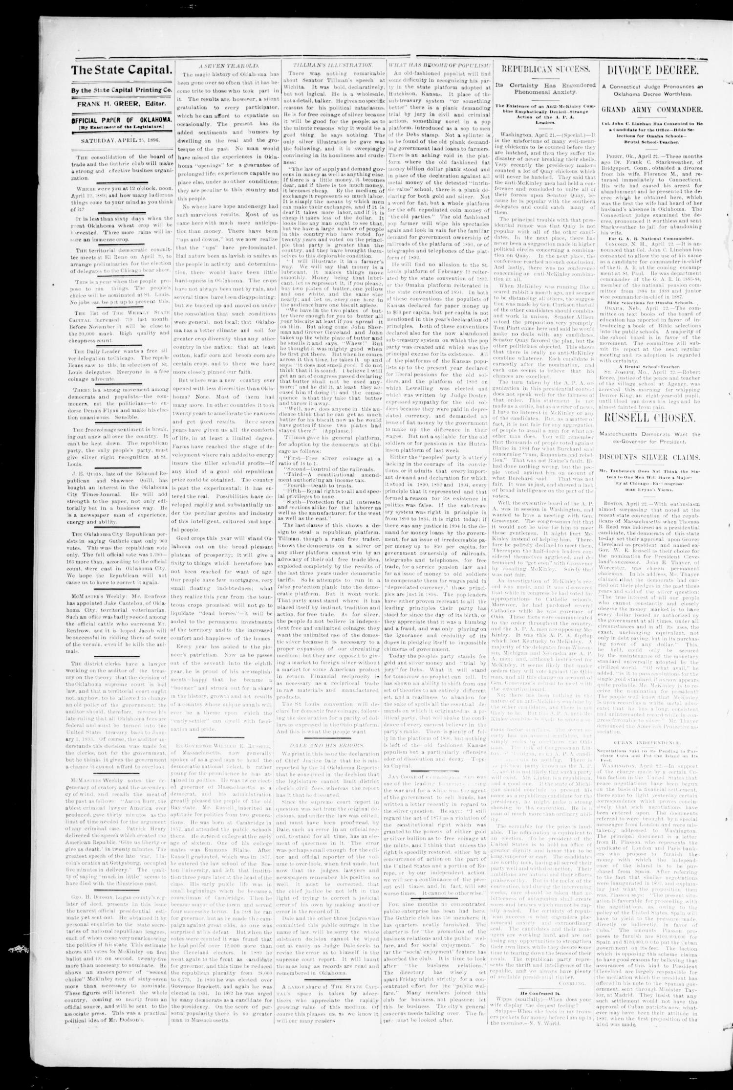 Weekly Oklahoma State Capital. (Guthrie, Okla.), Vol. 8, No. 7, Ed. 1 Saturday, April 25, 1896                                                                                                      [Sequence #]: 2 of 7