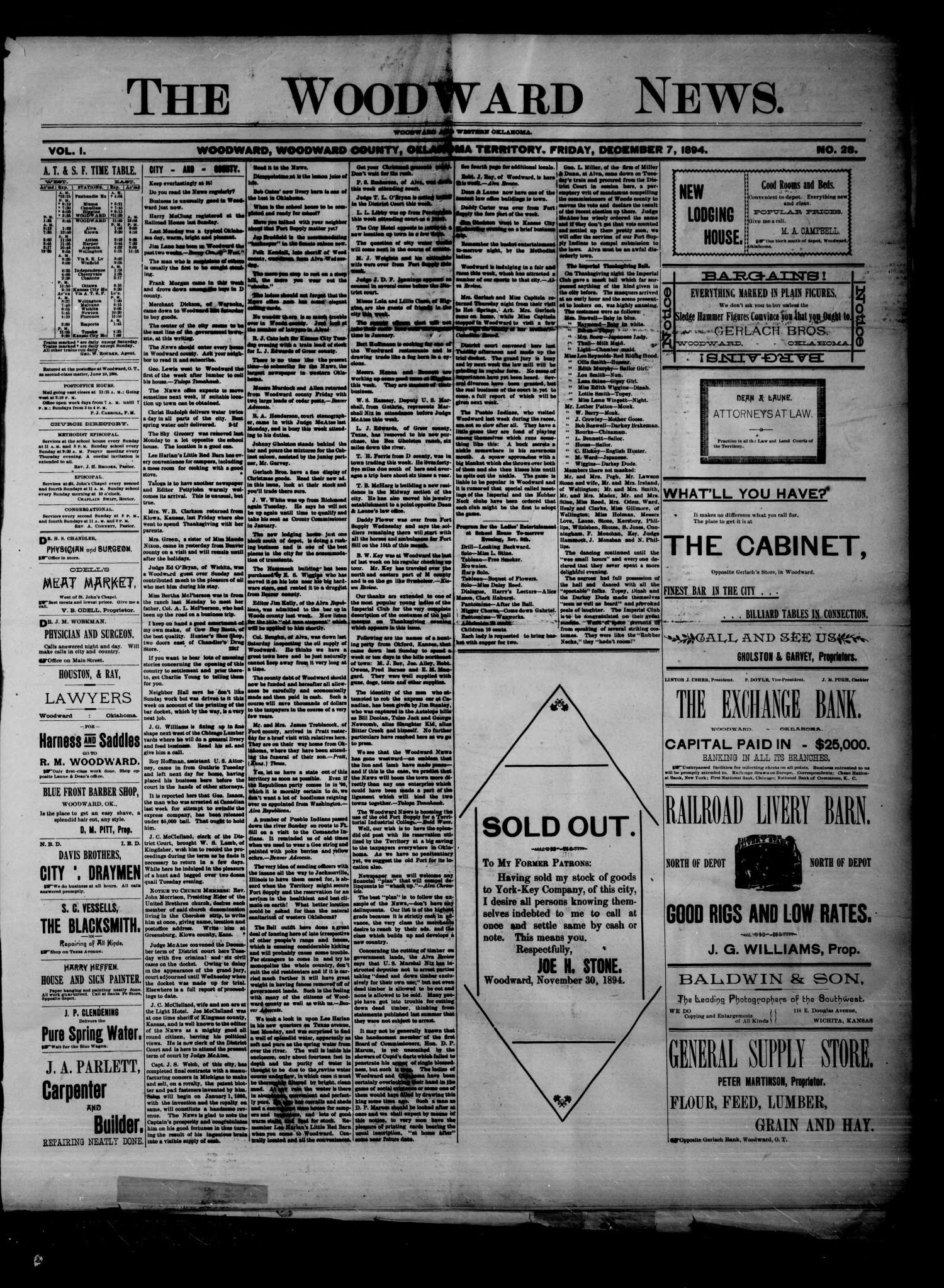 The Woodward News. (Woodward, Okla. Terr.), Vol. 1, No. 28, Ed. 1 Friday, December 7, 1894                                                                                                      [Sequence #]: 1 of 4