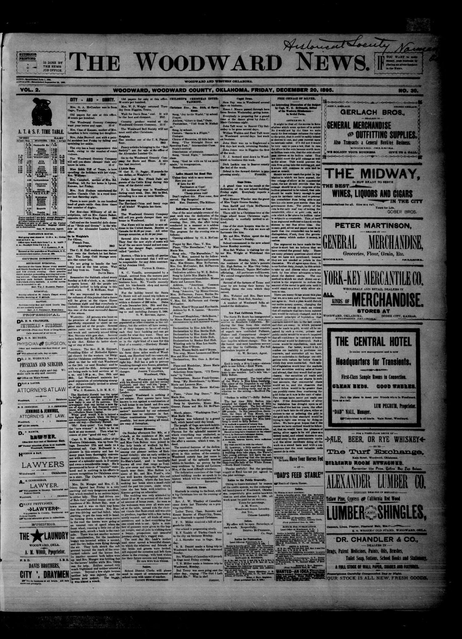 The Woodward News. (Woodward, Okla.), Vol. 2, No. 30, Ed. 1 Friday, December 20, 1895                                                                                                      [Sequence #]: 1 of 4