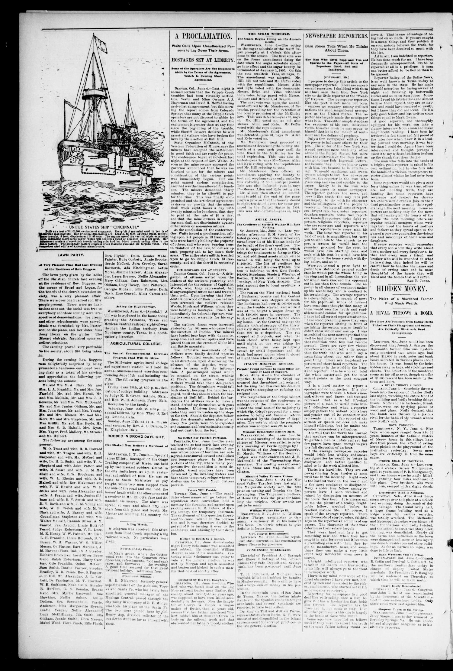 Weekly Oklahoma State Capital. (Guthrie, Okla.), Vol. 6, No. 6, Ed. 1 Saturday, June 9, 1894                                                                                                      [Sequence #]: 6 of 8