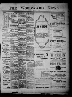 Primary view of object titled 'The Woodward News. (Woodward, Okla. Terr.), Vol. 1, No. 26, Ed. 1 Friday, November 23, 1894'.