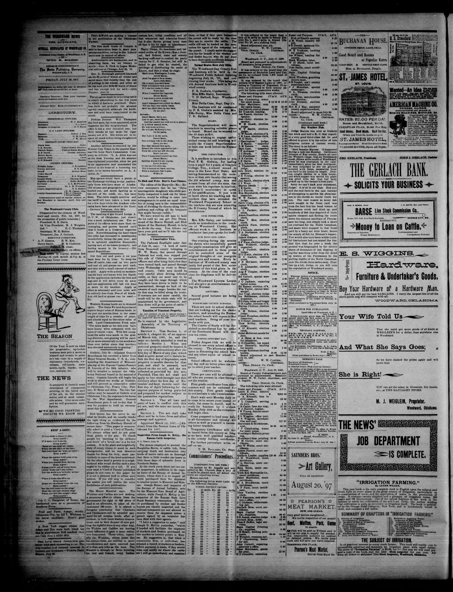 The Woodward News. (Woodward, Okla.), Vol. 4, No. 10, Ed. 1 Friday, July 30, 1897                                                                                                      [Sequence #]: 4 of 4