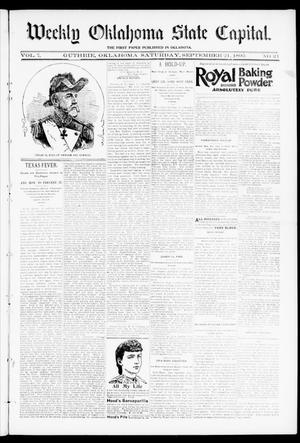 Primary view of object titled 'Weekly Oklahoma State Capital. (Guthrie, Okla.), Vol. 7, No. 21, Ed. 1 Saturday, September 21, 1895'.
