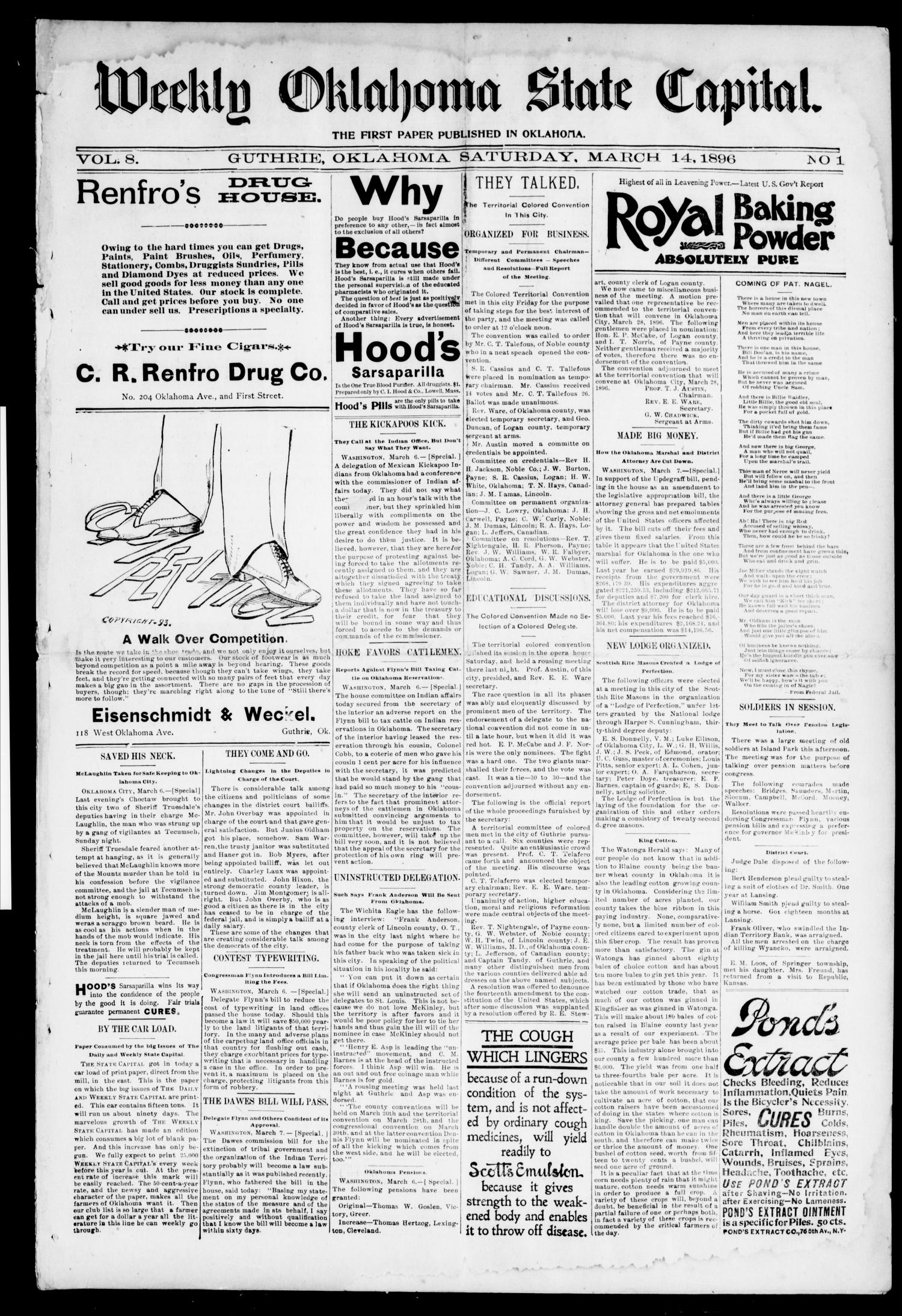 Weekly Oklahoma State Capital. (Guthrie, Okla.), Vol. 8, No. 1, Ed. 1 Saturday, March 14, 1896                                                                                                      [Sequence #]: 1 of 8