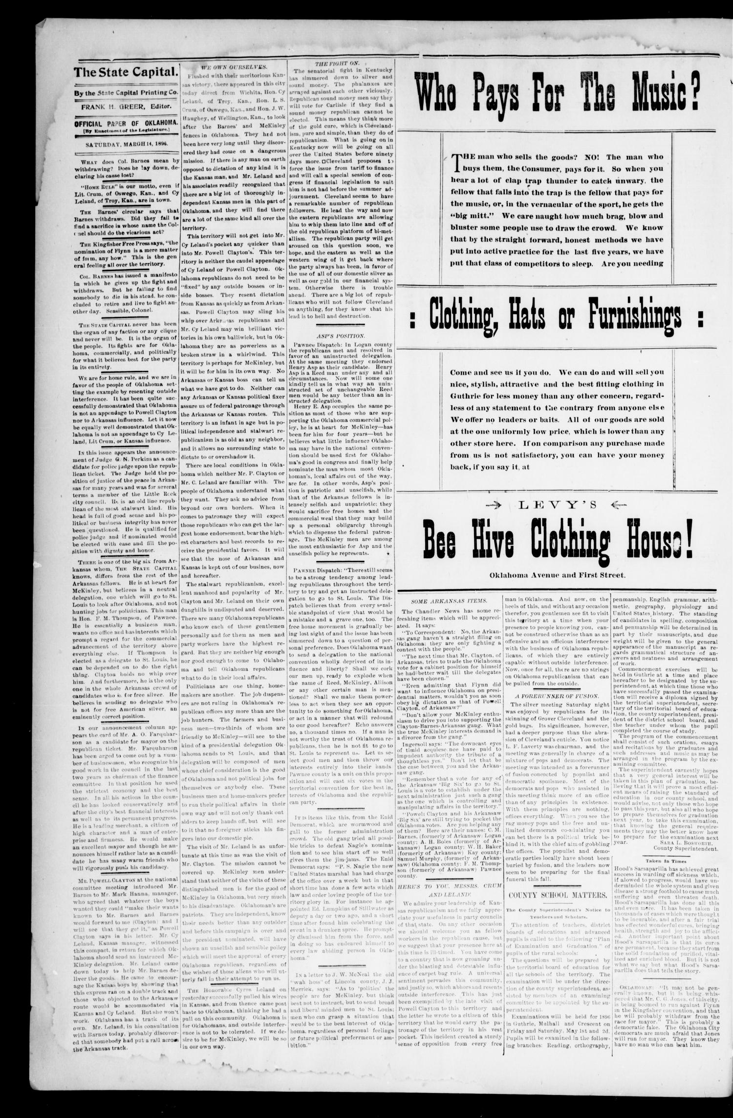 Weekly Oklahoma State Capital. (Guthrie, Okla.), Vol. 8, No. 1, Ed. 1 Saturday, March 14, 1896                                                                                                      [Sequence #]: 2 of 8