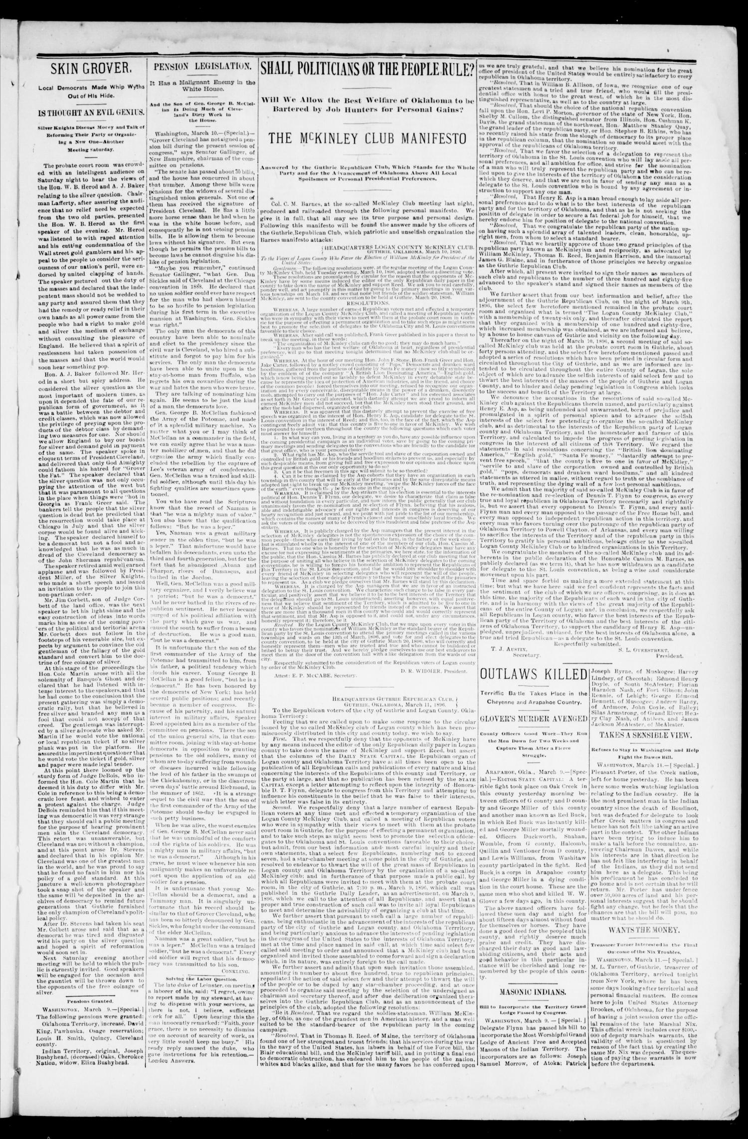 Weekly Oklahoma State Capital. (Guthrie, Okla.), Vol. 8, No. 1, Ed. 1 Saturday, March 14, 1896                                                                                                      [Sequence #]: 3 of 8