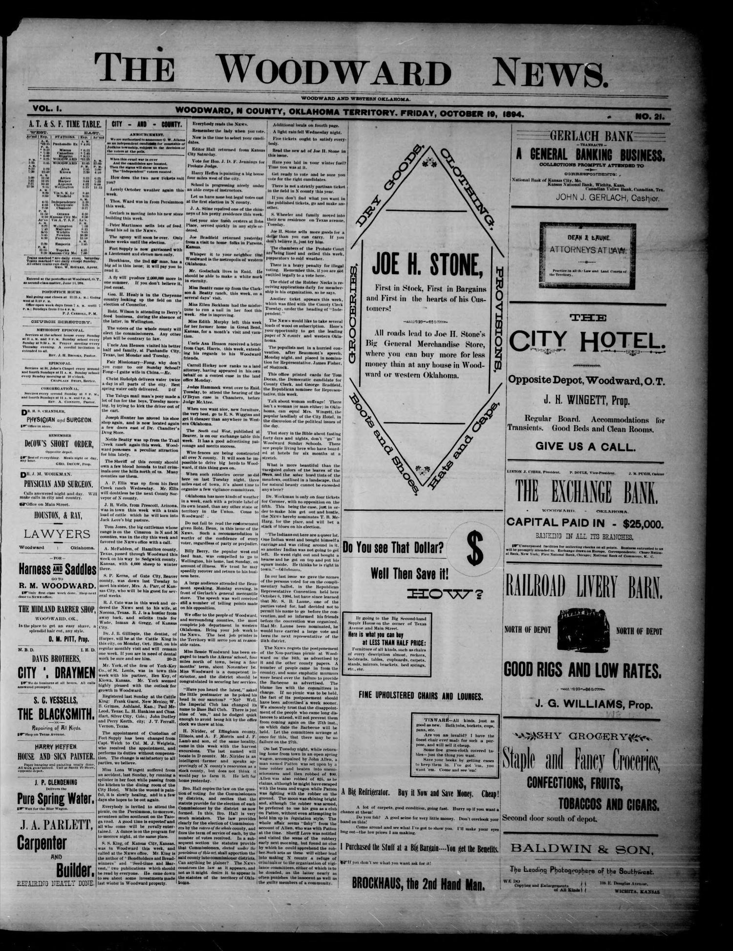 The Woodward News. (Woodward, Okla. Terr.), Vol. 1, No. 21, Ed. 1 Friday, October 19, 1894                                                                                                      [Sequence #]: 1 of 5