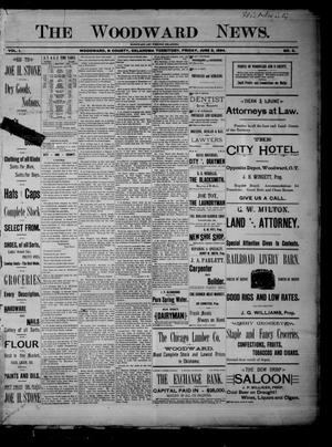 Primary view of object titled 'The Woodward News. (Woodward, Okla. Terr.), Vol. 1, No. 2, Ed. 1 Friday, June 8, 1894'.