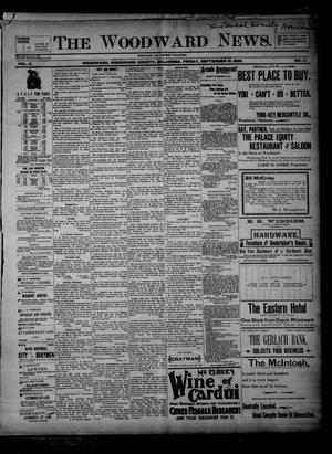 Primary view of object titled 'The Woodward News. (Woodward, Okla.), Vol. 3, No. 17, Ed. 2 Friday, September 18, 1896'.