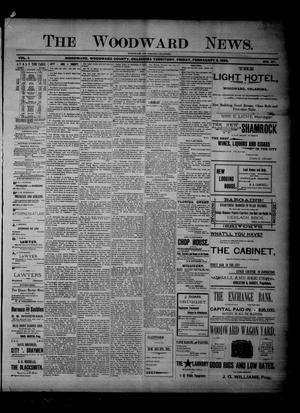 Primary view of object titled 'The Woodward News. (Woodward, Okla. Terr.), Vol. 1, No. 37, Ed. 1 Friday, February 8, 1895'.