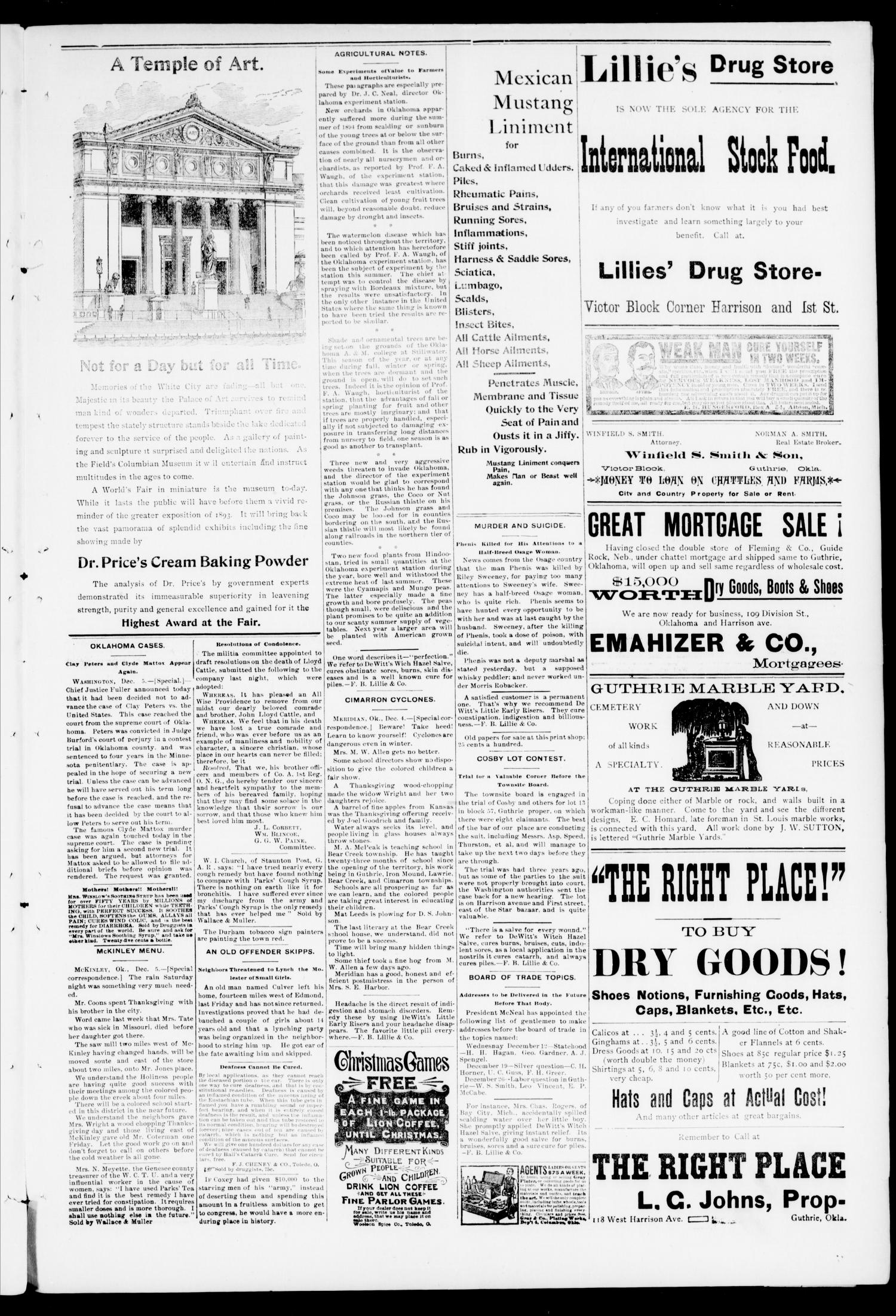 Weekly Oklahoma State Capital. (Guthrie, Okla.), Vol. 6, No. 33, Ed. 1 Saturday, December 15, 1894                                                                                                      [Sequence #]: 5 of 8