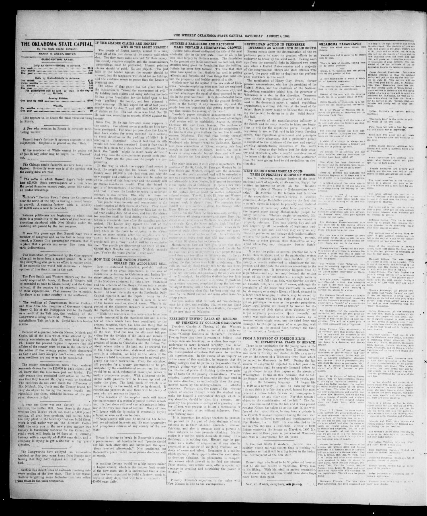 The Weekly Oklahoma State Capital. (Guthrie, Okla.), Vol. 18, No. 16, Ed. 1 Saturday, August 4, 1906                                                                                                      [Sequence #]: 4 of 8