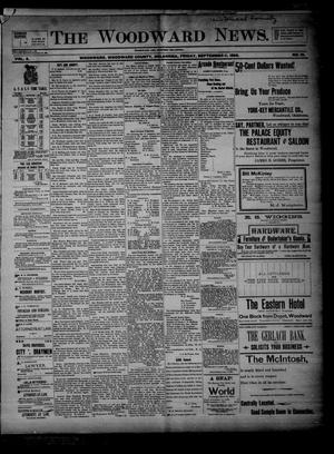 Primary view of object titled 'The Woodward News. (Woodward, Okla.), Vol. 3, No. 16, Ed. 1 Friday, September 11, 1896'.