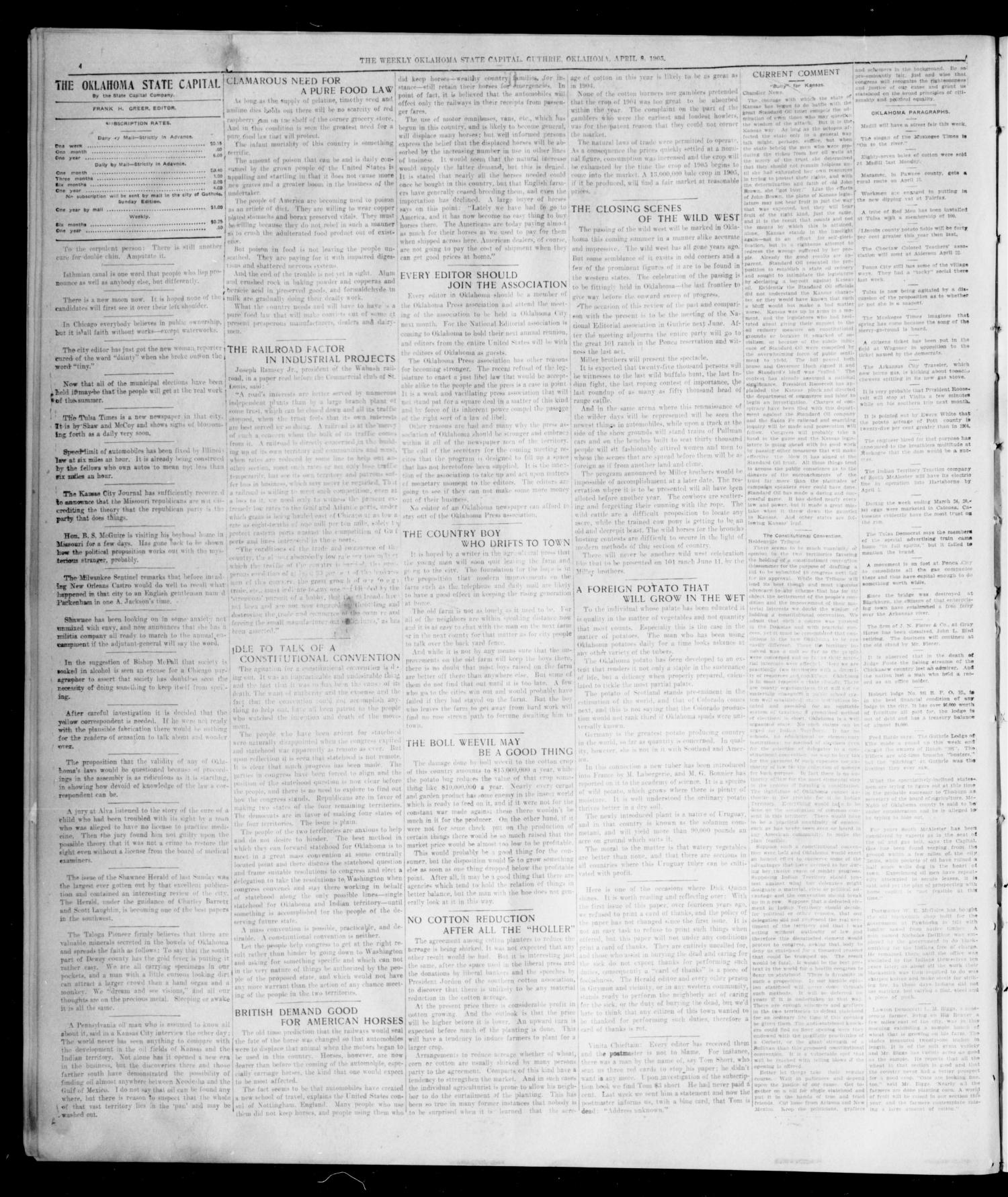 The Weekly Oklahoma State Capital. (Guthrie, Okla.), Vol. 17, No. 2, Ed. 1 Saturday, April 8, 1905                                                                                                      [Sequence #]: 4 of 8