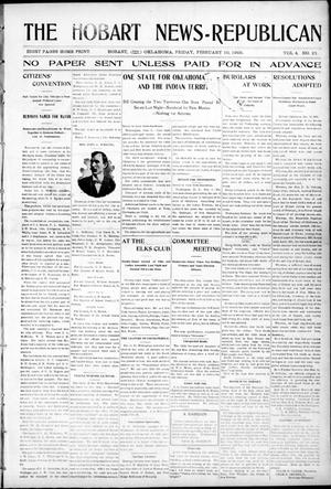 Primary view of object titled 'The Hobart News--Republican (Hobart, Okla.), Vol. 4, No. 27, Ed. 1 Friday, February 10, 1905'.