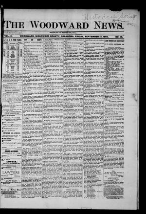 Primary view of object titled 'The Woodward News. (Woodward, Okla.), Vol. 2, No. 16, Ed. 1 Friday, September 13, 1895'.