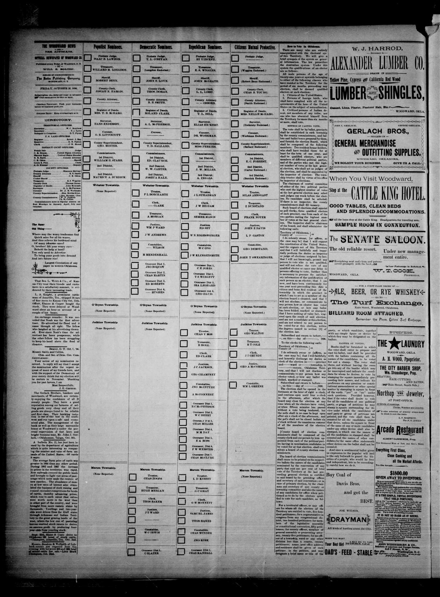 The Woodward News. (Woodward, Okla.), Vol. 3, No. 21, Ed. 1 Friday, October 16, 1896                                                                                                      [Sequence #]: 4 of 4