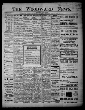Primary view of object titled 'The Woodward News. (Woodward, Okla. Terr.), Vol. 1, No. 46, Ed. 1 Friday, April 12, 1895'.