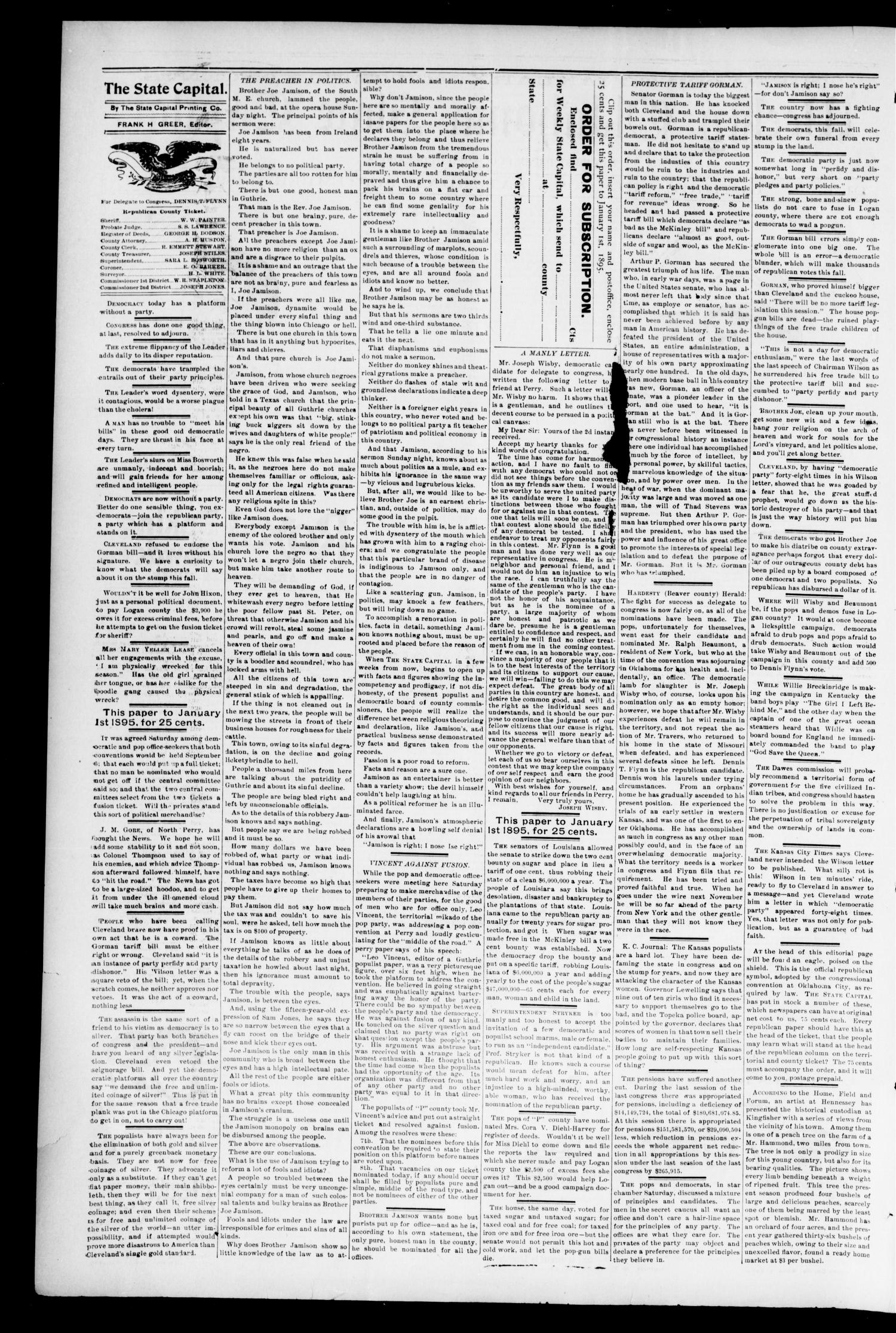 Weekly Oklahoma State Capital. (Guthrie, Okla.), Vol. 6, No. 18, Ed. 1 Saturday, September 1, 1894                                                                                                      [Sequence #]: 2 of 6