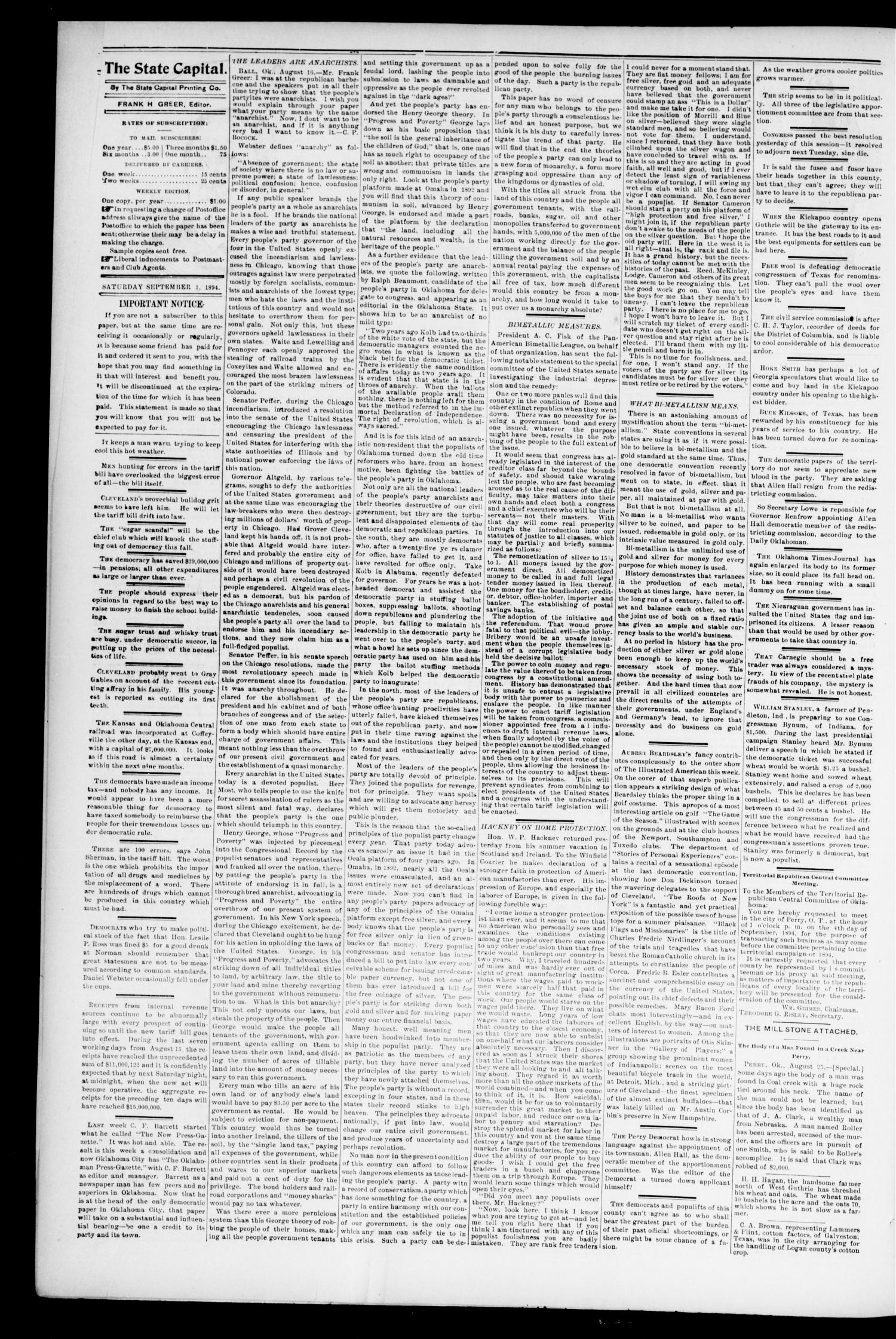 Weekly Oklahoma State Capital. (Guthrie, Okla.), Vol. 6, No. 18, Ed. 1 Saturday, September 1, 1894                                                                                                      [Sequence #]: 4 of 6