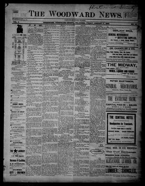Primary view of object titled 'The Woodward News. (Woodward, Okla.), Vol. 2, No. 34, Ed. 1 Friday, January 17, 1896'.