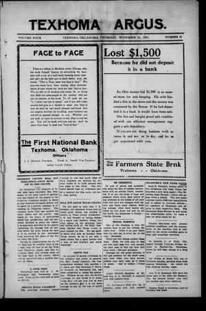 Primary view of Texhoma Argus. (Texhoma, Okla.), Vol. 4, No. 45, Ed. 1 Thursday, November 16, 1911